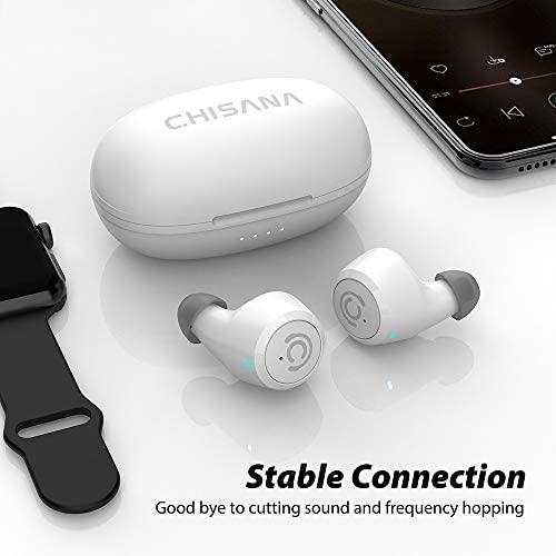 Wireless Earbuds,Chisana Bluetooth Headphones Extreme Subwoofer Bass,Bluetooth Earbuds for Stable Connection,Instant Pairing and Dual Microphones,Suitable for Workout, Running, Gym (White)