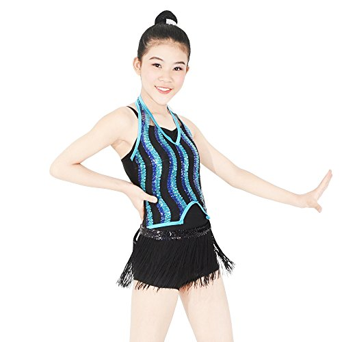 MiDee Dance Costume Dance Outfit Wave Pattern Sequins Halter Neck Bicktard with Tassels Skirt 2 Pieces (IC, (Dance Competition Costumes Patterns)