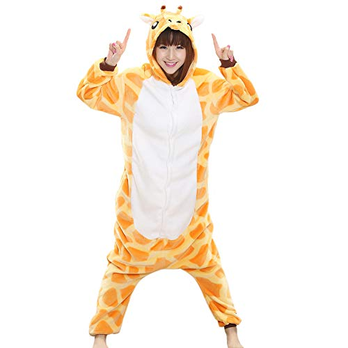 Afoxsos Women's Soft Fleece Animal Cartoon Onesie Adult Pajamas Size S Giraffe -