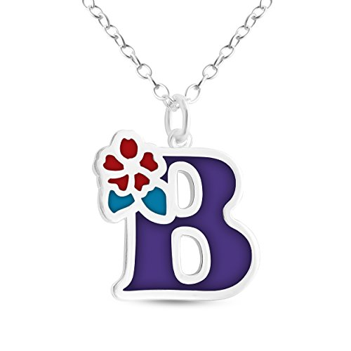er or 14K Gold Plated Silver Colored Initial Letter B with Flower Pendant Necklace (12, sterling-silver) (Sterling Flower Silver Leaf Pendant)