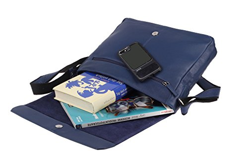 Greenburry Pure A4 Messenger Bag Tasche Leder 34 cm Laptopfach Blue avjx8cl