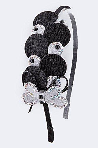 Trendy Fashion Jewelry 2 Tone Satin Cutout Pattern Headband By Fashion Destination | - Two Tone Brooch Butterfly