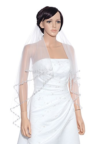 2T 2 Tier Pearls Silver Beaded Wedding Veil - White Fingertip Length 36