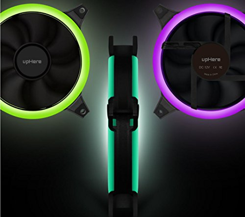 upHere 5-Pack Wireless RGB LED 120mm Case Fan,Quiet Edition High Airflow Adjustable Color LED Case Fan for PC Cases RGB123-5 by upHere (Image #4)