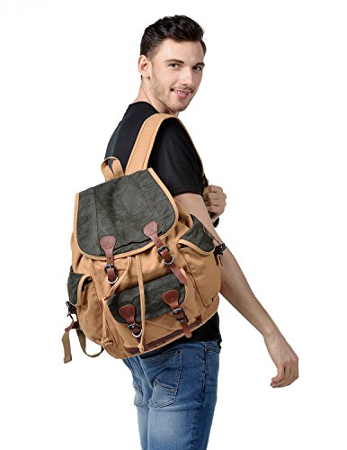 d08cd88a56f4 Kattee Mens Canvas Leather Hiking Travel Backpack ✓ The Backpack Pro
