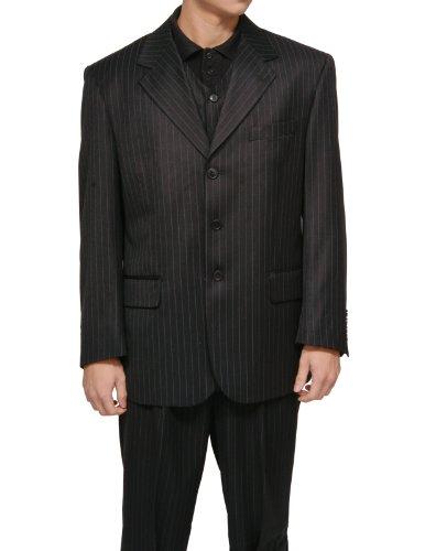New Men's 3 Piece Black Gangster Pinstripe Dress Suit with Matching Vest