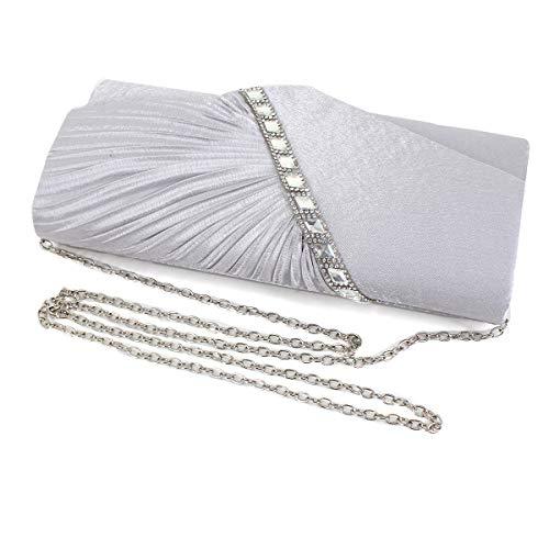 Handbag Felice Silver Rhinestone Evening Crystal Clutch Clutch Studded Pleated Satin vOqwfvBn