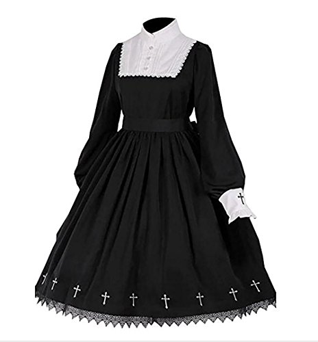 Tong Gu Women Lolita Gothic Dress Vintage Cross Embroidery Long Sleeve Princess Dress for $<!--$39.99-->