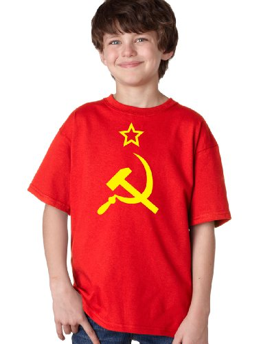 USSR HAMMER & SICKLE FLAG Youth T-shirt / Soviet Union, Communist Russia Costume Tee-Red-X-Large