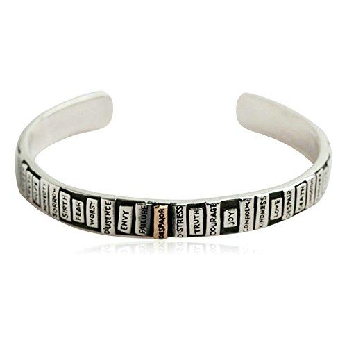 Daesar 925 Silver Bracelet For Men Wide Surface Simplicity Opening Bracelet Silver by Daesar