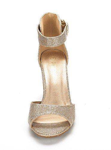 Dream Pairs Women's HHER Gold Glitter Low Heel Pump Sandals – 10 M US