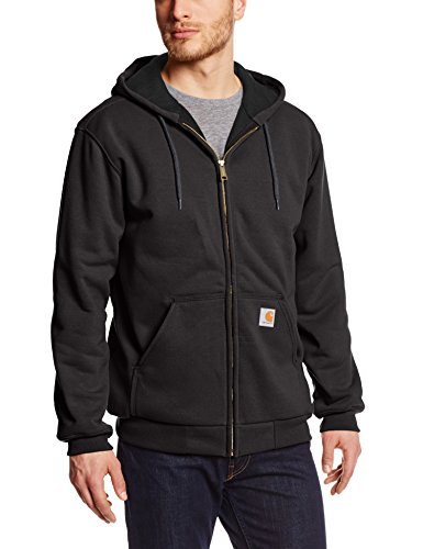 Carhartt Men's Rain Defender Rutland Thermal Lined Hooded Zip Front Sweatshirt 100632,Black,Medium (Thermal Pullover Mens Hoodie)