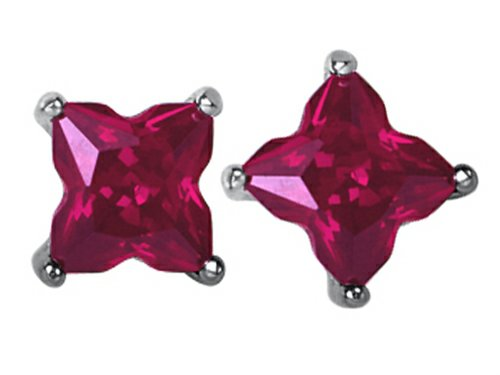 Star K Fancy Cut Star Shape Earrings Studs with Created Ruby Sterling (Red Star Ruby)
