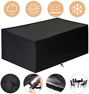 king do way Funda Mesa Jardin 230x165x80 cm, Conjuntos de Muebles Cubierta Impermeable para Sofa de Jardin, al Aire Libre, Patio, Plazas Funda para Sofa de Esquina, 420D, in PVC: Amazon.es: Jardín