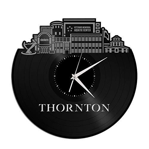 VinylShopUS - Thornton Co Vinyl Wall Clock City Skyline Anniversary Unique Gift Office Home | Bedroom Decoration -