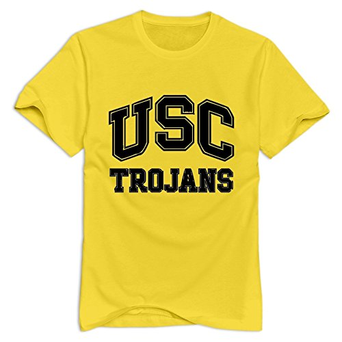 CUAUNED US TROJANS T-shirt For Men - L Yellow Logo Roundneck Yellow Shirts For Mens