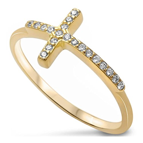 Pave Ring Round Gold (Sideways Cross Ring Round Pave Cubic Zirconia Yellow Tone Rhodium Plated 925 Sterling Silver)