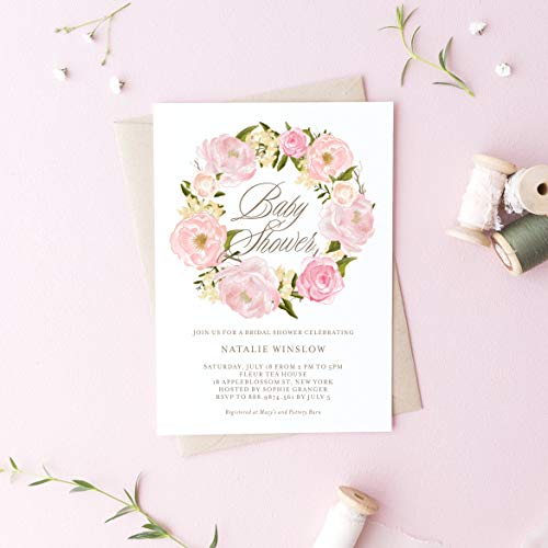 Dozili Floral Baby Shower Invitation Watercolor Blush Pink Peonies Wreath Baby Shower Invitation Editable Invite ()