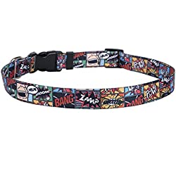 """Yellow Dog Design Vintage Comics Dog Collar with Tag-A-Long ID Tag System-Small-3/4 and fits Neck 10 to 14"""""""