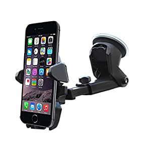 Car Phone Holder, ZACTEK, Long Neck Windshield Phone Holder Sticky Gel Pad Car Mount Compatible with iPhone Andriod Phone Samsung Huawei ZTE VIVO Oppo Google Pixel Galaxy Edge Smartphone (Black)