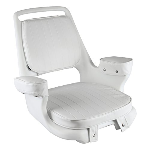 Wise 8WD1007-3-710 Captains Chair with Cushions and Mounting Plate, White - Saltwater Boat Chair