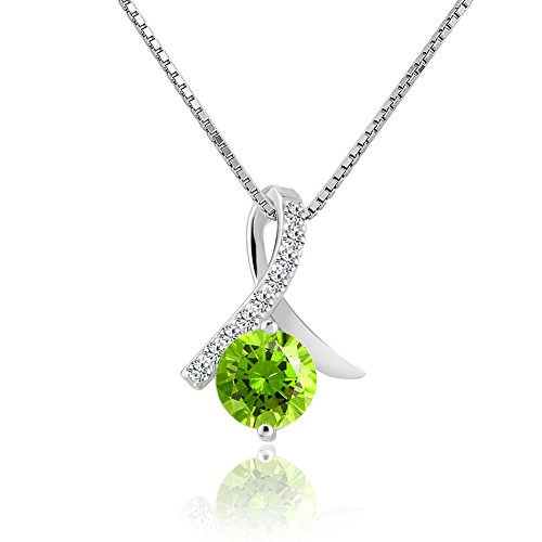 (Mel Crouch 925 Sterling Silver Necklaces Crystal Ribbon Love Yourself Breast Cancer Awareness Necklaces (Green))