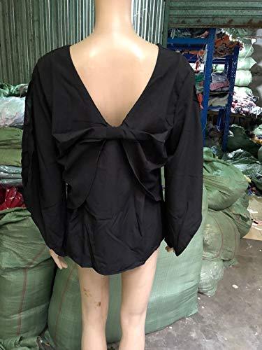 Chic Femmes N Haut Printemps Smalltile Shirt Col Manches Dos Nu Fendues Longues Chemisiers Papillon ud Tops et V Noir Automne Fashion Blouses 6qBAxOPqwT