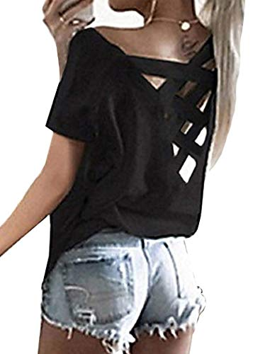 Halife Women's Short Sleeve Criss Cross Tops Casual Boat Neck T Shirt Tees Black XL