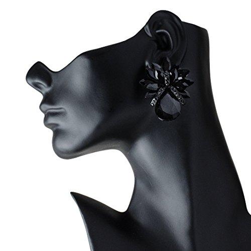 (Premiere Elegance Huge Black Crystal Rhinestone Button Clip-On Earrings)