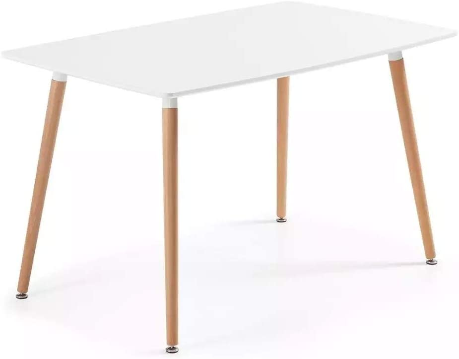 Fetrrc Mid Century Wood Dining Table, Small Kitchen Table for Small Spaces (White)
