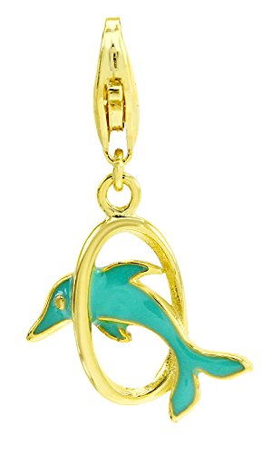 - AFFY Jewelry Turquoise Enamel Dolphin Charm Pendant Necklace in 925 Sterling Silver