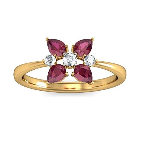 14K Or jaune, 0,13carat Diamant Blanc (IJ | SI) Rubis et diamant Bague