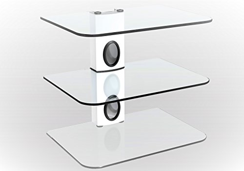 3 Shelf Wall Mount Glass - Gold Line 3 x White Floating Shelves with Strengthened Tempered Clear Glass for DVD Players/Cable Boxes/Games Consoles/TV Accessories