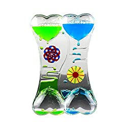Connoworld Double Heart Liquid Motion Bubble Drip Oil Hourglass Timer Clock Kids Toy Gift Craft Decoration Ornament-Blue Green