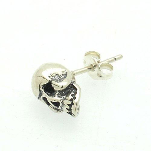 286d55c94 Amazon.com: Skull Stud Earring - Mens Earring - Sterling Silver Skull  Earring - minimalist Earring - skeleton post earrings - steampunk earrings:  Handmade