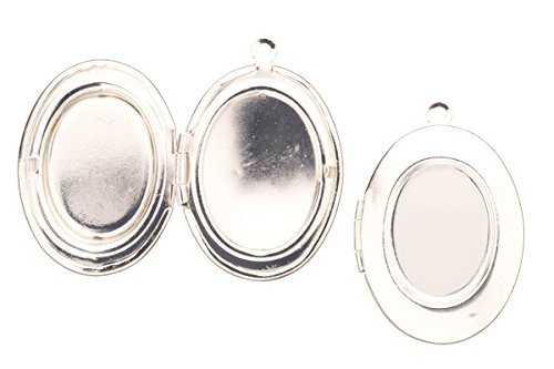 Plain Oval Locket Pendant Silver Plated Fits Three 15x20mm Photos 33x23mm Sold Per Pack For 2 (Three Photo Locket)