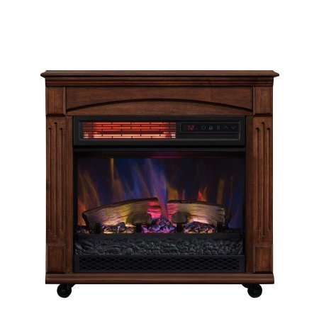Rolling Mantel with Infrared Quartz Electric Fireplace, Caramel Birch