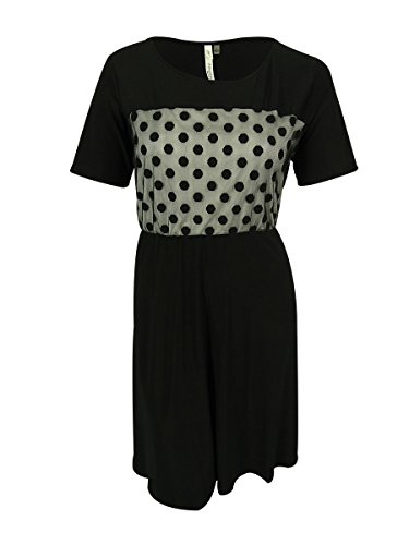 Ebony Cocktail - NY Collection Women's Plus-Size Elbow Sleeve Fit and Flare Dress with Sheeer Lace Dot Front, Ebony Moon Lace, 2X