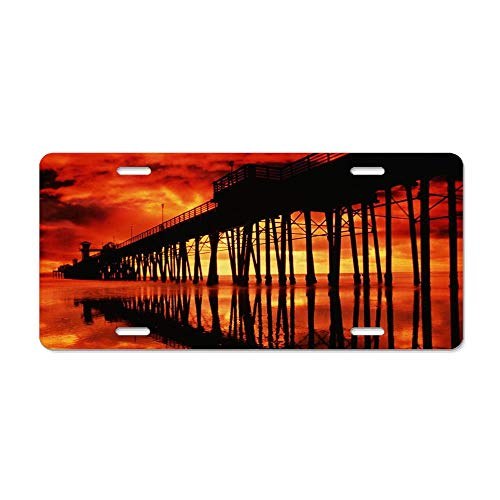 FloralFlames Fiery Sky Over Pier in San Diego Personalized Novelty Front License Plate Custom Decorative Aluminum Car Tag (Best Pier Fishing In San Diego)