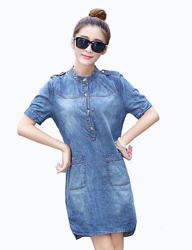 PU&PU Robe Aux femmes Grandes Tailles / Trapèze Street Chic,Couleur Pleine Mao Au dessus du genou Coton , blue-xl , blue-xl