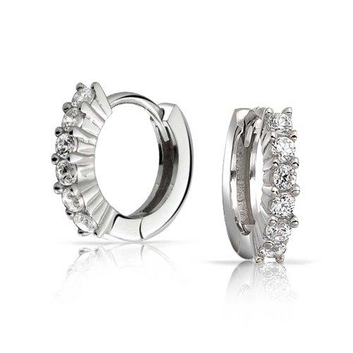 Bling Jewelry 925 Silver Cubic Zirconia Huggie Hoop Ear Hugger Earrings