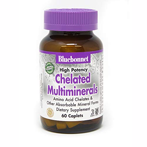 BlueBonnet Albion High Potency Chelated Multiminerals Caplets with Iron, 60 Count ()