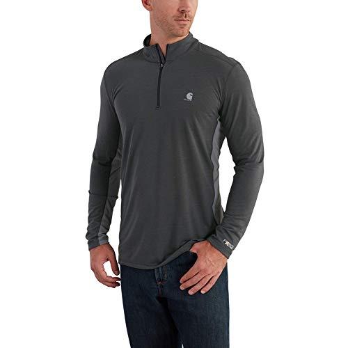 Carhartt Men's Force Extremes Quarter Zip, Shadow/Charcoal, Medium (Zip Polyester Quarter)