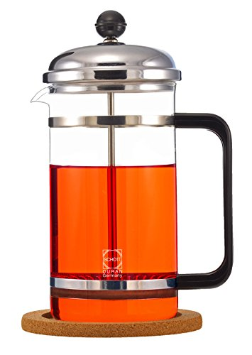 Cheap GROSCHE Denver French Press with Pyrex France Glass Beaker and anti-slip cork base 1500 ml. INCLUDES 1 REPLACEMENT MESH FILTER SCREEN FREE!