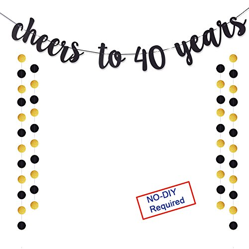 Cheers to 40 Years Gold Glitter Banner For Adult 40th Birthday Party Supplies Wedding Anniversary Party Decorations