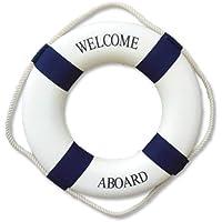 Asien Estone Decorativo Bienvenido a Bordo náutico Lifebuoy Anillo Colgante de Pared de la decoración del