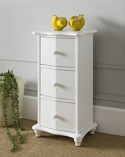 King's Brand Cream White Finish Wood 3 Drawer Cabinet Chest