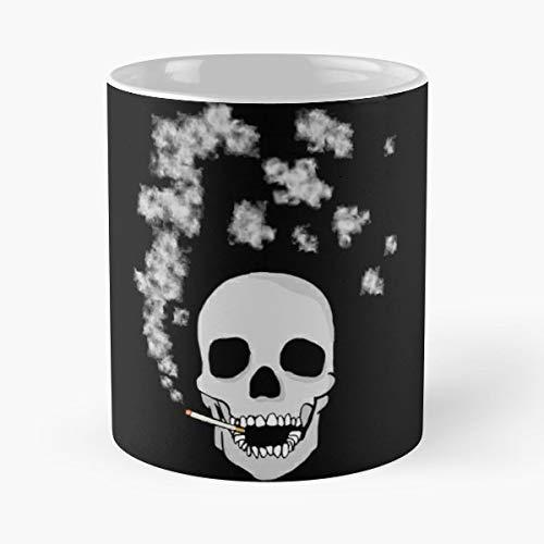 Smoking Skull Skeleton Cigarette Mortal Lethal Clouds Cranium Bone Death Drawing Sketch Symbol Icon Metaphor Comic Cartoon Art - 11 Oz Coffee Mugs Ceramic The Best Gift For Holidays, Item Use Daily.