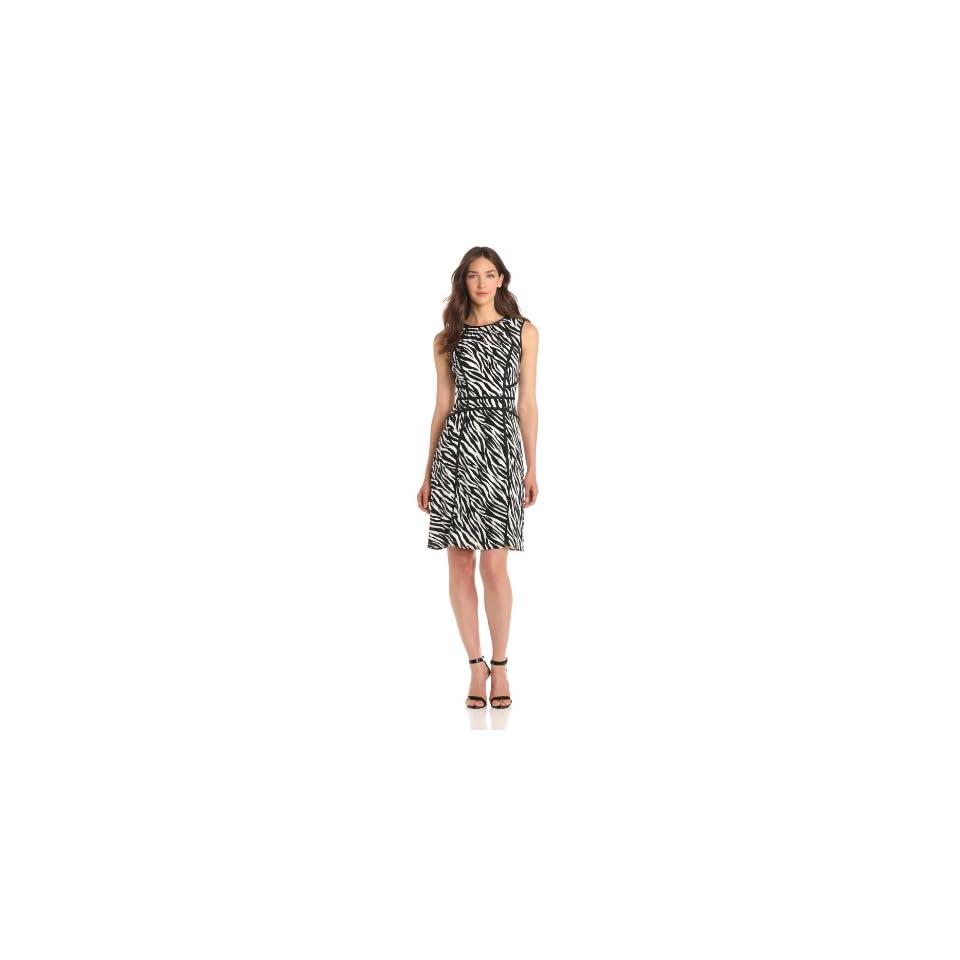 Adrianna Papell Womens Zebra Print Flare Dress