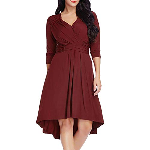 2019 Women Casual Clothing,Ladies Plus Size Plus Size 3/4 Sleeve Cross V Neck Solid Dress (2XL, Wine)